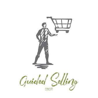 Sprzedaż z przewodnikiem, sklep, rynek, koszyk, koncepcja klienta. ręcznie rysowane menedżer z wózkiem na szkic koncepcji strony.
