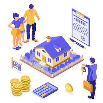 Sprzedaż, zakup, wynajem, izometryczna koncepcja domu hipotecznego do lądowania, reklama z domem, pośrednikiem w handlu nieruchomościami, kluczem, rodzina inwestuje pieniądze w nieruchomości. ilustracja wektorowa na białym tle