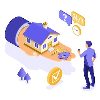 Sprzedaż, zakup, wynajem, izometryczna koncepcja domu hipotecznego na plakat