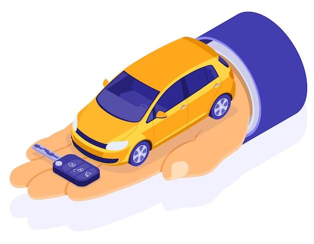 Sprzedaż, zakup, wynajem izometrycznej koncepcji lądowania samochodu, reklama z rękami, dealer trzyma samochód i klucz. wynajem samochodów, carpooling, carsharing na wycieczki po mieście.