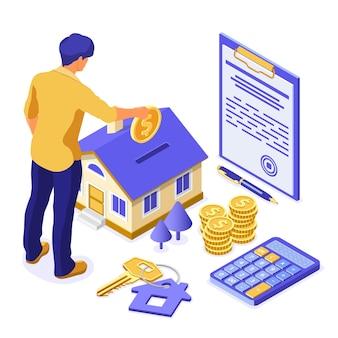 Sprzedaż, zakup, wynajem, koncepcja izometryczna domu hipotecznego na plakat, lądowanie, reklama z domem, człowiek inwestuje pieniądze w nieruchomości, klucz, umowa, długopis, kalkulator. odosobniony