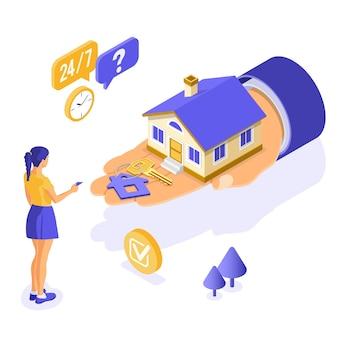 Sprzedaż, zakup, wynajem, koncepcja izometryczna domu hipotecznego na plakat, lądowanie, reklama z domem pod ręką, dziewczyna inwestuje w nieruchomości, klucz, całodobowe wsparcie.