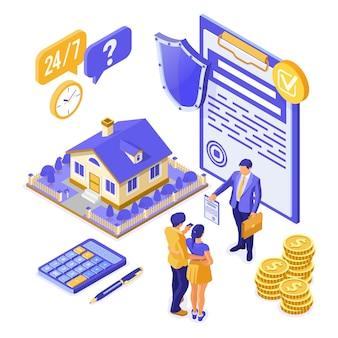 Sprzedaż, zakup, wynajem, kredyt hipoteczny, koncepcja izometryczna domu ubezpieczeniowego, baner z domem