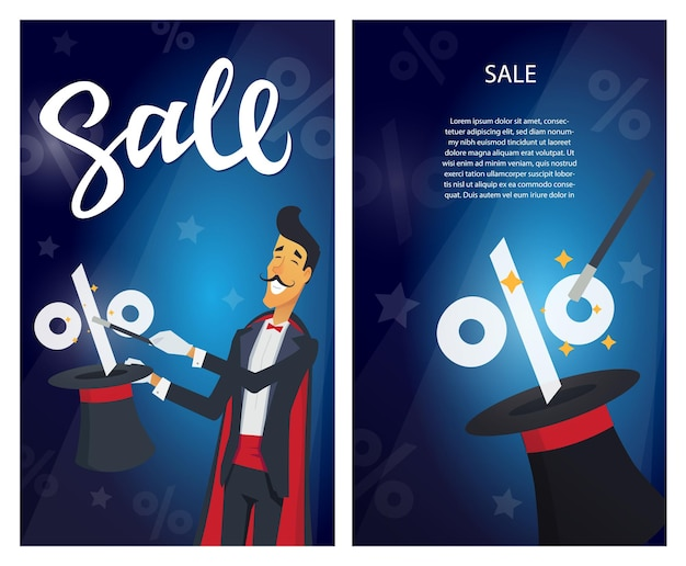 Sprzedaż - zestaw nowoczesnych ilustracji wektorowych z tekstem kaligrafii i miejscem na informacje na czerwonym tle. wizerunek maga wykonującego hat-tricka. rabat, koncepcja zakupów