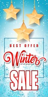 Sprzedaż zimowa napis z gwiazdami