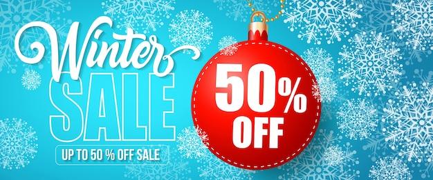 Sprzedaż zimowa pięćdziesiąt procent off napis