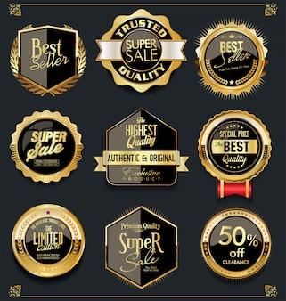 Sprzedaż złota i czerni etykiety retro vintage design collection