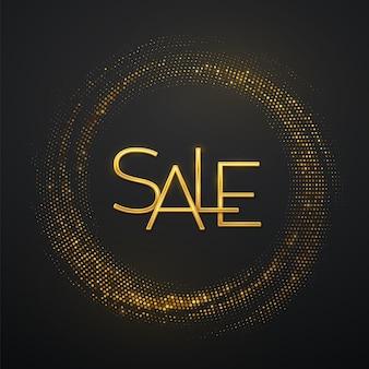 Sprzedaż, złoty tekst. złote metaliczne luksusowe litery sprzedaż na błyszczącym tle. pękające tło z brokatem. świąteczny plakat lub baner. wektor napis złota na czarnym tle.