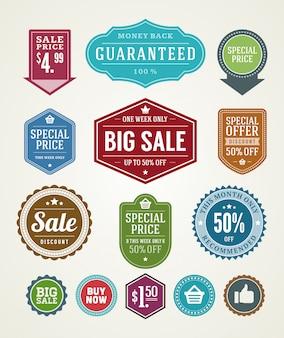 Sprzedaży etykiet i faborków ustawiają projekta elementów premii ilości odznaki wektoru ilustrację.