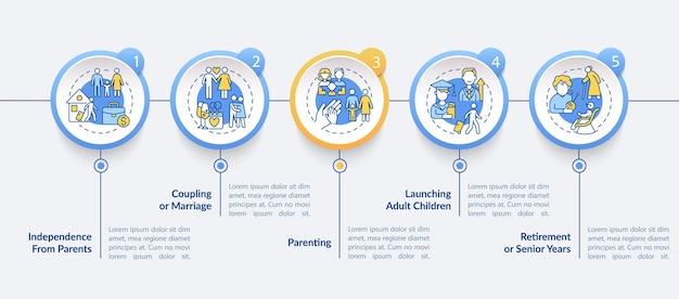Sprzęgła lub małżeństwa wektor infographic szablon. uruchomienie elementów projektu konspektu prezentacji dla dorosłych. wizualizacja danych w 5 krokach. wykres informacyjny osi czasu procesu. układ przepływu pracy z ikonami linii