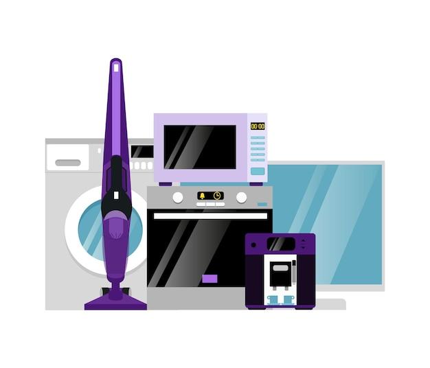 Sprzęt agd. grupa urządzeń gospodarstwa domowego na białym tle. ilustracja wektorowa