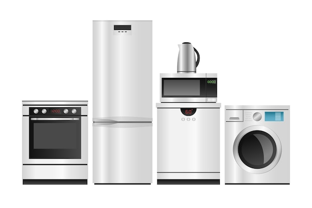 Sprzęt agd, grupa urządzeń gospodarstwa domowego na białym tle