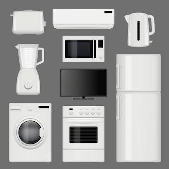 Sprzęt agd realistyczny. nowoczesne zdjęcia kuchenne narzędzia ze stali nierdzewnej na białym tle