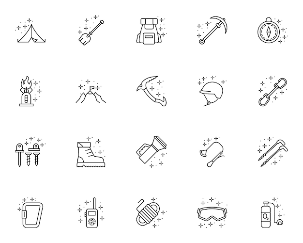 Sprzęt alpinistyczny zarys zestaw ikon