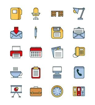 Sprzęt biurowy zestaw ikon dostarcza pracy