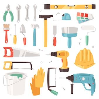 Sprzęt budowlany konstruktywne narzędzia konstruktora lub konstruktora z młotem i śrubokrętem zestaw narzędzi stolarzy na białym tle