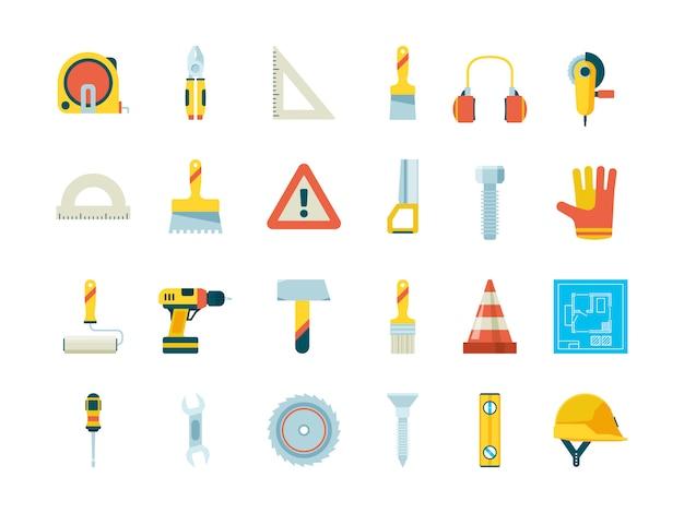 Sprzęt budowlany. narzędzia przemysłowe dla budowniczych żuraw piła taczka młotek malarski płaska kolekcja