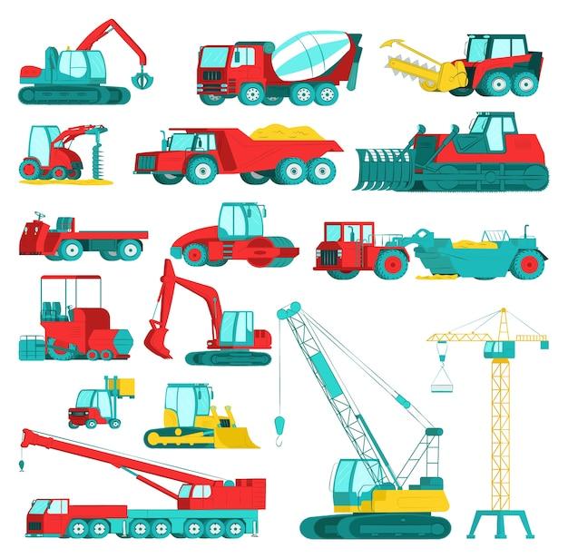Sprzęt budowlany, zestaw ciężkich maszyn górniczych, ilustracja. koparka, traktor, wywrotka, spychacz i ładowarka, pojazdy. przemysł maszyny budowlane, transport.