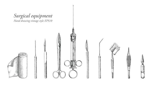 Sprzęt chirurgiczny ustawić ręcznie rysunek styl vintage
