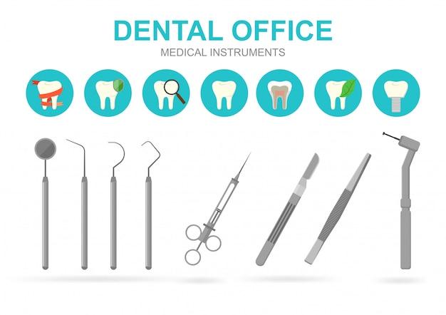 Sprzęt dentystyczny na białym tle