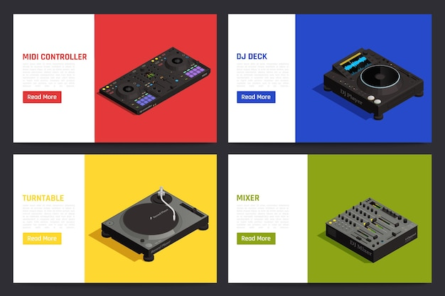 Sprzęt dj 4 izometryczne kompozycje z mikserem audio kontrolerem gramofonu gramofonu odtwarzacza płyt winylowych