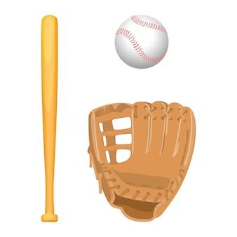 Sprzęt do baseballu. na białym tle jasnobrązowa skórzana rękawica, drewniany specjalny kij i mała biała kulka w realistycznym stylu.