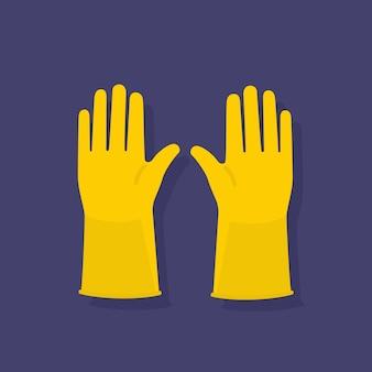 Sprzęt do higieny w żółtych rękawiczkach ochronnych
