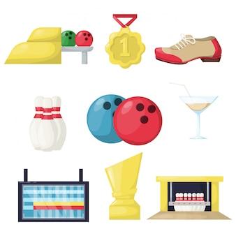 Sprzęt do hobby w kręgle. rodzinna gra sportowa zabawa docelowa kręgielnia. sukces turnieju drużyny drużynowej jest szczęśliwy.