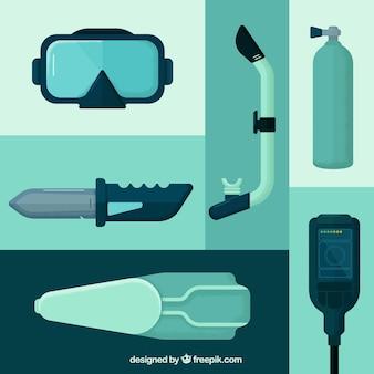Sprzęt do nurkowania i akcesoria w płaskiej konstrukcji