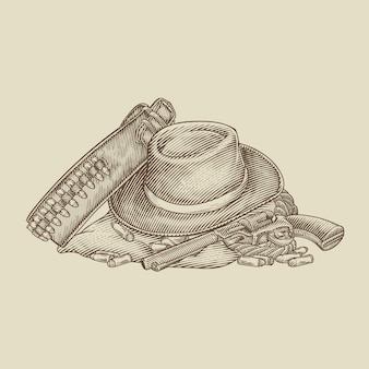 Sprzęt do pistoletu w kowbojskim kapeluszu