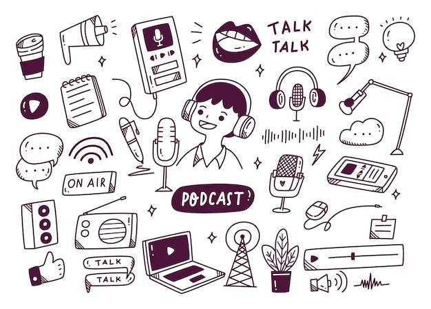 Sprzęt do podcastów w ilustracji stylu doodle