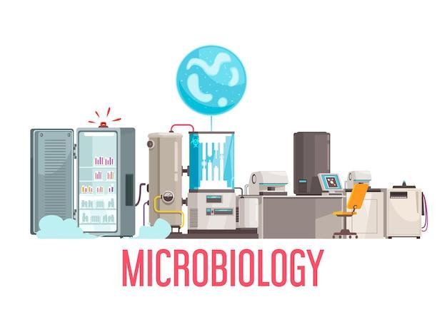 Sprzęt do składu mikrobiologii i ilustracja obiektów elektronicznych
