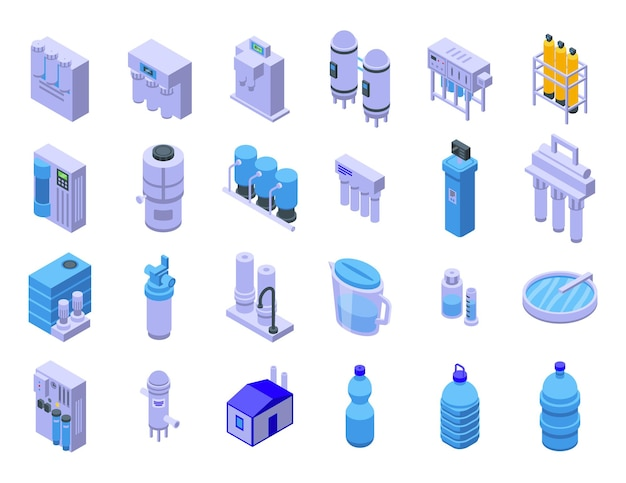 Sprzęt do zestawu ikon oczyszczania wody. izometryczny zestaw urządzeń do oczyszczania wody wektorowe ikony do projektowania stron internetowych na białym tle