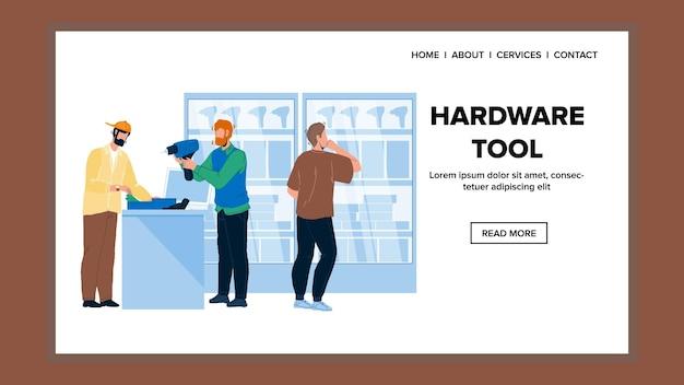 Sprzęt dział sprzedaż sprzętu narzędzi wektor. wiertarka narzędziowa wybierz klienta w sklepie z technologią przemysłu elektronicznego. postacie klienci kupują towary w sieci web płaskie ilustracja kreskówka