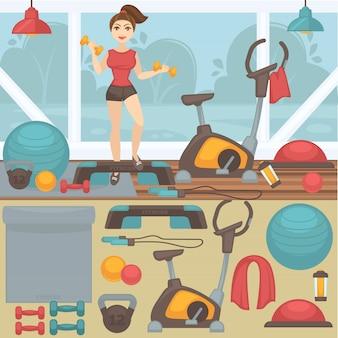 Sprzęt fitness i wnętrze siłowni.