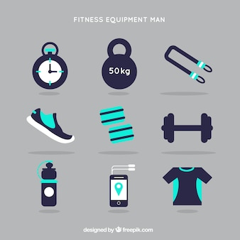 Sprzęt fitness mężczyzna w niebieskim kolorze