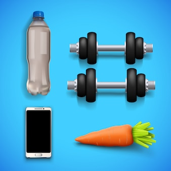 Sprzęt fitness na niebiesko