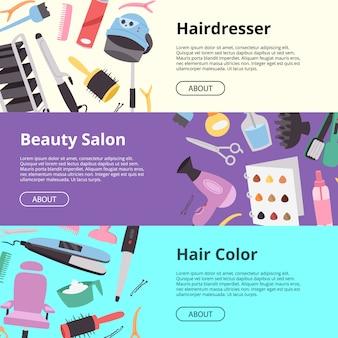 Sprzęt fryzjerski setof sztandary ilustracyjni. fryzjer, salon kosmetyczny, kolor włosów. tekstura salonu fryzjerskiego z nożyczkami, grzebieniami, prostownicą, symbolami suszarki do włosów.