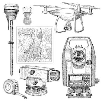 Sprzęt geodezyjny ręcznie rysowane grawerowany styl.
