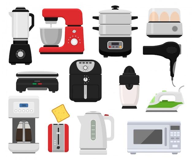 Sprzęt gospodarstwa domowego wektor urządzenia kuchenne dla domu zestaw kuchenka