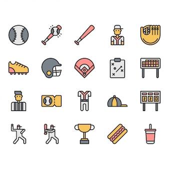 Sprzęt i działania baseball ikona i zestaw symboli