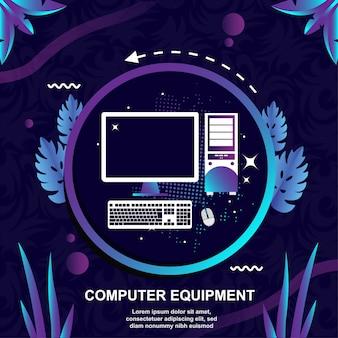 Sprzęt komputerowy płaska konstrukcja wektor