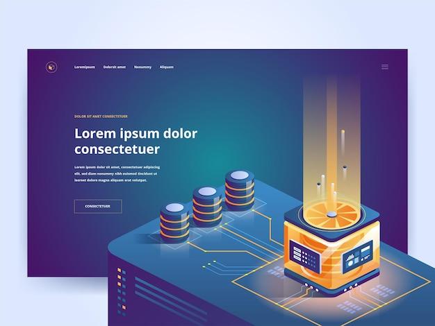 Sprzęt komputerowy pomysł na interfejs strony internetowej sklepu internetowego z ilustracjami izometrycznymi