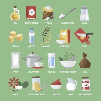 Sprzęt kuchenny i zestaw żywności. wybór potraw i posiłków. nóż i łyżka. ilustracja wektorowa płaski