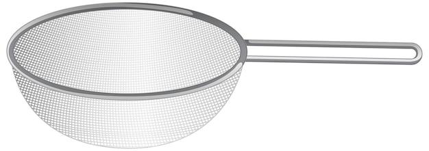 Sprzęt kuchenny z durszlakiem na białym tle