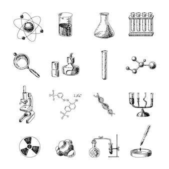 Sprzęt laboratoryjny naukowy chemii retorty szkło uchwyt dna symbole doodle szkic zestaw ikon na białym tle