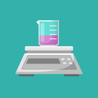 Sprzęt laboratoryjny, wektor równowagi i zlewki