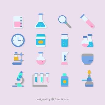 Sprzęt laboratoryjny zestaw ikon