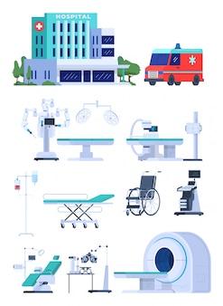 Sprzęt medyczny dla szpitala, odizolowywający na białych nowożytnych ikonach ilustracyjnych. technologia opieki zdrowotnej dla centrum medycznego, sprzęt do tomografii i ultradźwięków