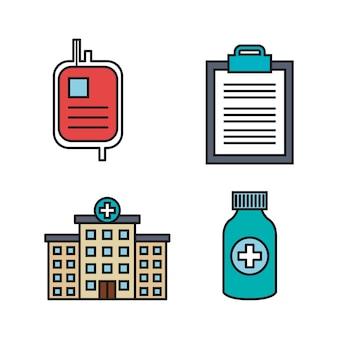 Sprzęt medyczny dostarcza zestaw ikon opieki zdrowotnej